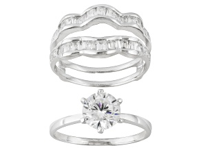 Pre-Owned Bella Luce ® 2.88ctw Round And Baguette, Rhodium Over Sterling Silver Ring With Wrap