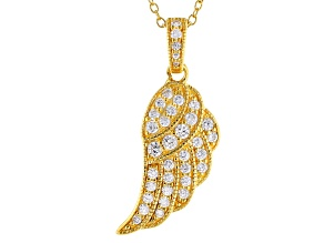 Pre-Owned Vanna K ™ For Bella Luce ® .95ctw 18k Yellow Gold Over Sterling Silver Wing Pendant With C