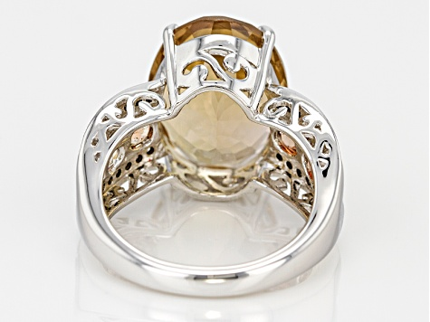 Pre-Owned Brown Champagne Quartz Sterling Silver Ring 8.37ctw