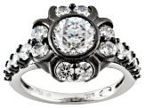 Pre-Owned Cubic Zirconia Black And White Rhodium Over Silver Fleur Noir Ring 4.64ctw