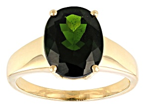 Pre-Owned 3.70ct 11x9mm Oval Russian Chrome Diopside 10k Yellow Gold Solitaire Ring