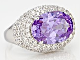 Pre-Owned Purple & White Cubic Zirconia Rhodium Over Sterling Silver Ring 14.02ctw