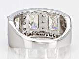 Pre-Owned White  Fabulite Strontium Titanate Sterling Silver Band Ring 4.39ctw