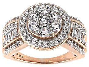 Pre-Owned White Cubic Zirconia 18k Rose Gold Over Sterling Silver Ring 3.20ctw