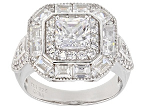 Pre-Owned White Cubic Zirconia Rhodium Over Sterling Silver Center Design Ring 4.62ctw
