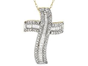 Pre-Owned White Diamond Cross Pendant 10k Yellow Gold .50ctw.