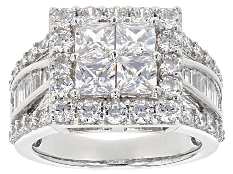 Pre-Owned White Cubic Zirconia Rhodium Over Sterling Silver Ring 3.98ctw