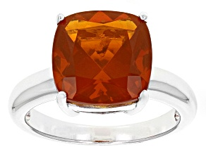 Pre-Owned Orange Oregon Fire Opal Sterling Silver Ring 3.10ct