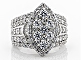 Pre-Owned White Cubic Zirconia Rhodium Over Sterling Silver Cluster Ring 4.77ctw