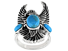 Pre-Owned Turquoise Sterling Silver Eagle Ring