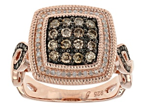 Pre-Owned 14k Rose Gold Over Sterling Islver Champagne And White Diamond Ring .63ctw