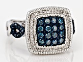Pre-Owned Rhodium Over Sterling Silver Blue And White Diamond Ring .63ctw