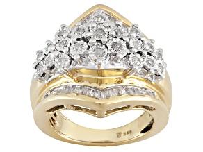 Pre-Owned Womens Cocktail Ring Genuine Diamond .75ctw 18k Yellow Gold Over Silver