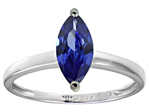 Pre-Owned Bella Luce® 1.62ct Marquise Tanzanite Sim Rhodium Over Silver Solitaire Ring