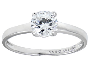 Pre-Owned Bella Luce® 1.43ctw Round Diamond Simulant Rhodium Over Silver Solitaire Ring