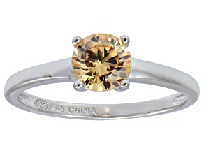 Pre-Owned Bella Luce® 1.43ct Champagne Diamond Simulant Rhodium Over Silver Ring