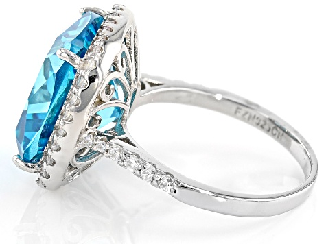 Pre-Owned Blue and White Cubic Z'irconia Rhodium Over Sterling Silver Ring 17.87ctw