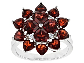 Pre-Owned Red garnet rhodium over sterling silver ring 4.42ctw