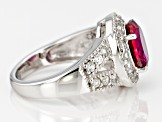 Pre-Owned Red Lab Created Bixbite Sterling Silver Ring 2.91ctw