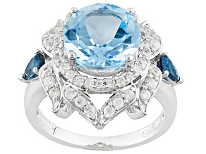Pre-Owned Sky Blue Topaz Sterling Silver Ring 5.46ctw
