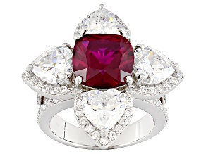 Pre-Owned Lab Created Ruby And And White Cubic Zirconia Silver Ring 12.75ctw