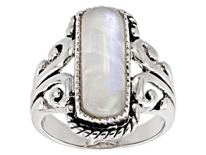 Pre-Owned White rainbow moonstone rhodium over sterling silver ring