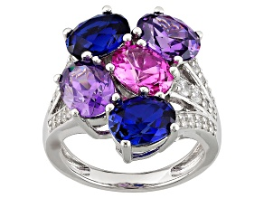 Pre-Owned Lab Created Pink/Blue Sapphire And Purple And White Cubic Zirconia Silver Ring 9.03ctw