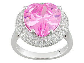 Pre-Owned Pink And White Cubic Zirconia Rhodium Over Sterling Silver Ring 11.89ctw