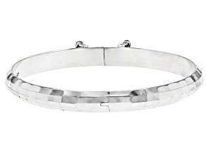 Pre-Owned Sterling Silver Rectangular Design Bangle Bracelet