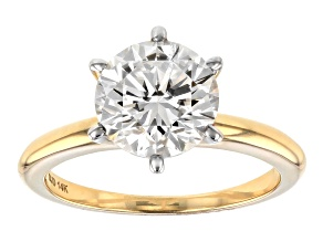 Pre-Owned Moissanite Fire® 2.20ctw Diamond Equivalent Weight 14k Yellow Gold Solitaire Ring