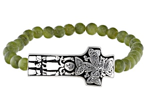 Pre-Owned Green Connemara Marble Silver Cross Bracelet