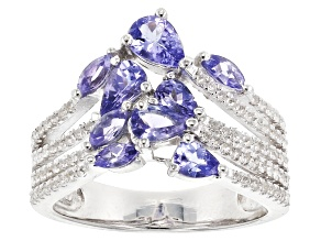 Pre-Owned Blue tanzanite rhodium over sterling silver ring 1.70ctw