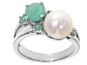 Pre-Owned 8.5-9mm White Cultured Freshwater Pearl & Sakota Emerald Rhodium Over Silver Ring