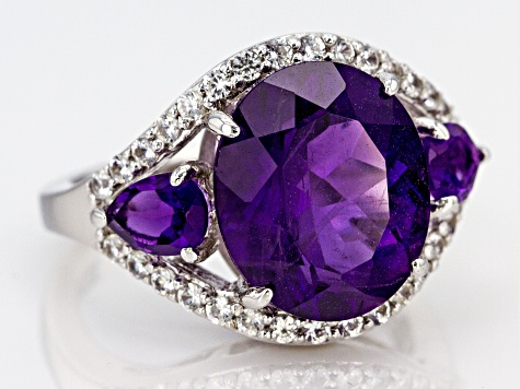 Pre-Owned Purple amethyst rhodium over silver ring 5.99ctw