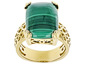 Pre-Owned Green Malachite 18k Yellow Gold Over Sterling Silver Solitaire Ring