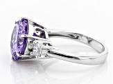 Pre-Owned Purple & White Cubic Zirconia Rhodium Over Sterling Silver Ring 9.89ctw