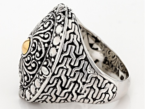 Pre-Owned Sterling Silver With 18k Gold Accent Filigree Ring