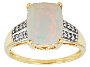 Pre-Owned Ethiopian Opal And White Zircon 10k Yellow Gold Ring 1.58ctw