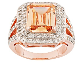 Pre-Owned Brown And White Cubic Zirconia 18k Rose Gold Over Silver Ring 8.50ctw (6.53ctw DEW)