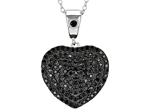 Pre-Owned Black Spinel Sterling Silver Heart Pendant With Chain 1.14ctw