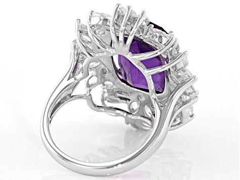 Pre-Owned Purple amethyst sterling silver ring 11.07ctw