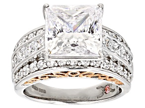 Pre-Owned Cubic Zirconia Silver And 18k Rose Gold Over Silver Ring 12.00ctw (7.73ctw DEW)