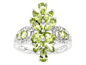 Pre-Owned Green peridot rhodium over sterling silver ring 2.09ctw