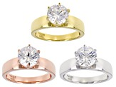 Pre-Owned White Cubic Zirconia Rhodium, 18k Yellow, and Rose Gold Over Sterling Silver Solitaire Rin