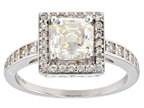 Pre-Owned White Fabulite Strontium Titanate And White Zircon Sterling Silver Ring 2.23ctw