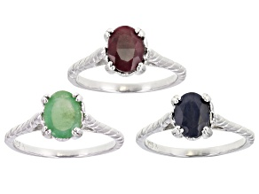 Pre-Owned Green Emerald Rhodium Over Sterling Silver Solitaire Set of 3 Rings 4.50ctw