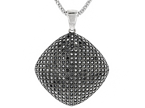 Pre-Owned Black Spinel Rhodium Over Sterling Silver Pendant With Chain 2.75ctw