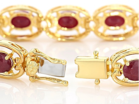 Pre-Owned Red ruby 18k yellow gold over sterling silver bracelet