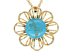 Pre-Owned Turquoise 18k Gold Over Brass Floral Pendant With Chain