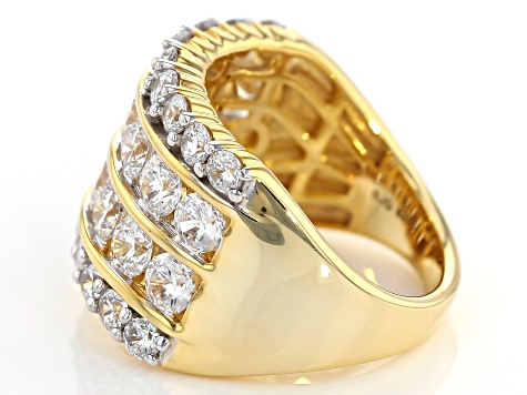 Pre-Owned White Cubic Zirconia 18k Yellow Gold Over Sterling Silver Ring 6.55ctw